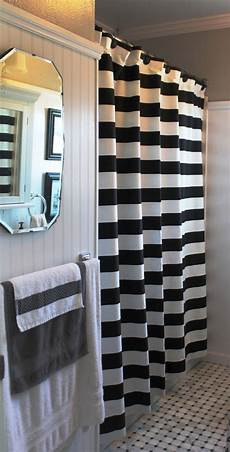 white striped shower curtain 3 quot black and white horizontal stripe shower curtain