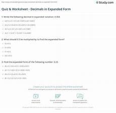 decimal worksheet expanded form 7113 quiz worksheet decimals in expanded form study