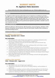 appliance sales associate resume sles qwikresume