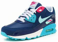 nike air max 90 gs youth navy blue pink trainers 345017