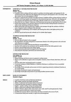 generator mechanic resume sles velvet