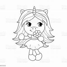 baby unicorn holding flower coloring page for