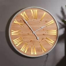 large wall mounted wooden light up wall clock melody maison 174
