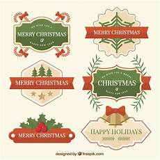 vintage of six merry christmas labels free vector