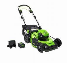 slicks garage lawn mower greenworks pro 60 volt 21 in self propelled electric lawn