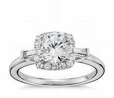 lhuillier baguette halo diamond engagement ring in