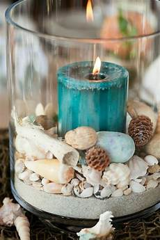 blue candle shell sand in glass cylinder centerpiece sea wedding theme cheap wedding