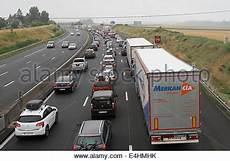 Traffic Jam On The Autoroute In August With Warning