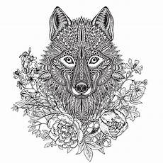graphic ornate of wolf with ethnic floral