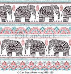 weinlese stammes elefant seamless indische muster