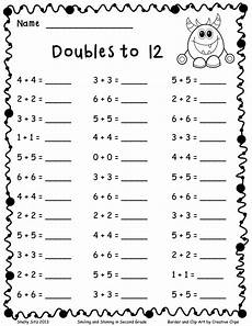 addition math facts worksheets 2nd grade doubles to 12 pdf add and subtract math doubles free