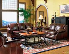 livingroom furnature princeton genuine leather living room sofa loveseat tri tone brown