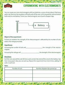 experimenting with electromagnets 6th grade worksheet sod