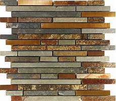 10sf rustic copper linear slate blend mosaic tile