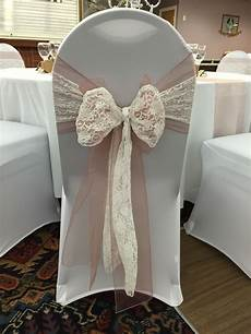 chair covers with vintage pink organza sash doubled up with white lace sash 163 2 75 to hire