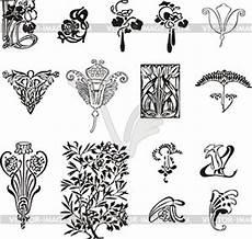 nouveau simple floral ornaments vector clipart