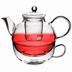 glass tea for one tea pot cup and strainer herbal teapot