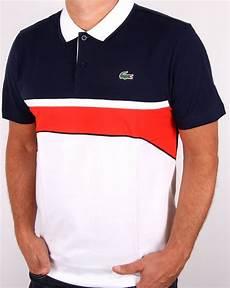 lacoste sport jacquard collar polo shirt white navy s