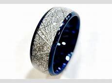 Blue Tungsten Wedding Bands, Tungsten Rings, Meteorite
