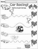 Trace The Pattern Race Cars Worksheets  Pre Writing