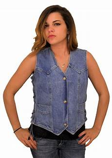 womens denim vest w side laces removable concealed carry