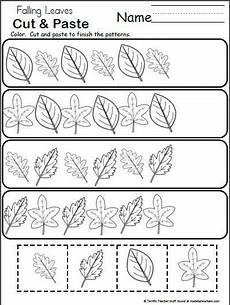 free pattern worksheet for kindergarten fall leaves
