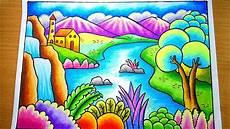 Cara Menggambar Dan Mewarnai Gradasi Pemandangan Gunung