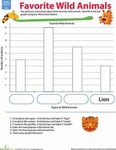 2nd grade math worksheet bar graphs build a bar graph favorite animals marvelous math bar