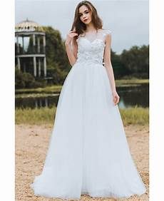 modest lace a line beach wedding dress cheap boho cap sleeves long flowing tulle df6408