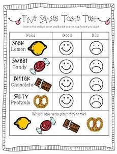 5 senses worksheets tasting 12611 five senses taste test by preschoolers and tpt