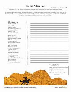 printable poetry worksheets for middle school 25329 edgar allan poe worksheets and middle school reading on