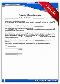 free printable acceleration of contract performance form