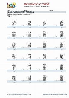 year 4 maths worksheets addition adding three 3 digit