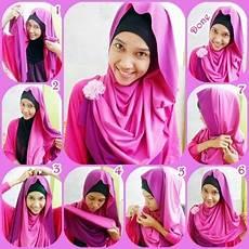 Cara Memakai Jilbab Pashmina Kaos 2 Tone Style 2