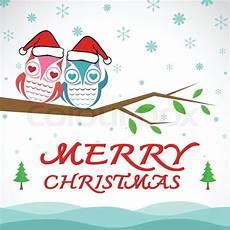 vector merry christmas greeting owl stock vector colourbox