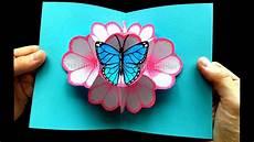 basteln mit papier pop up karten blumen schmetterling