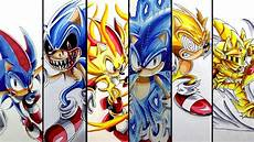 drawing sonic super forms and transformations compilation 2 youtube