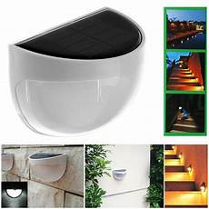 outdoor solar power led wall light 6 led stair landscape garden fence l light ebay