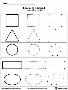 learning basic shapes color trace and connect shapes