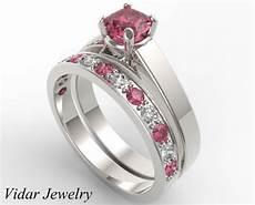 unique alternating pink sapphire diamond wedding ring vidar jewelry unique custom engagement
