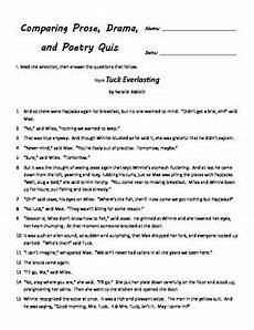 poetry prose drama worksheets 25262 comparing prose poetry and drama quiz for fourth grade by mac daniel