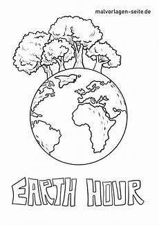 malvorlage earth hour umweltschutz in 2020 malvorlagen