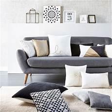 coussin deco salon canap 233 2 places scandinave milo tissu gris anthracite