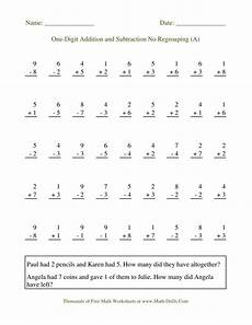 one digit addition worksheets with pictures 9629 adding and subtracting single digit numbers no regrouping a mixed operations worksheet