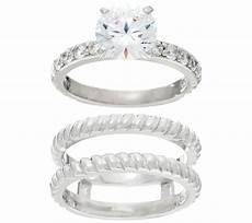 diamonique twisted bridal ring sterling or 14k clad page 1 qvc com
