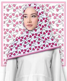 Jilbab Segi Empat Motif Love Candys Printout Shop