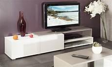 pacific meuble tv couleur blanc et taupe laque brillant
