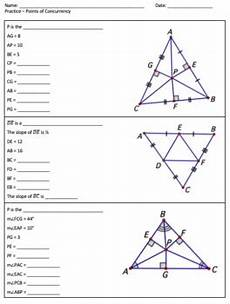 points of concurrency and midsegments worksheets by in math class