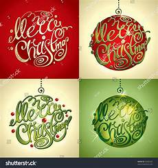 christmas card merry christmas lettering by four styles of a writing and color vector
