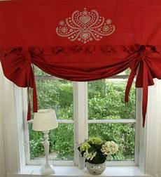 gardine landhausstil raff gardine herzig rot rollo 140x100 cm raffgardinen
